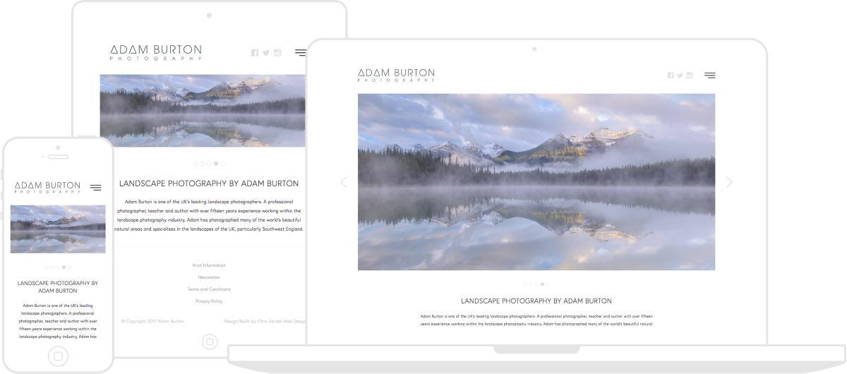 Adam Burton Photography Website by Chris Davies Web Design